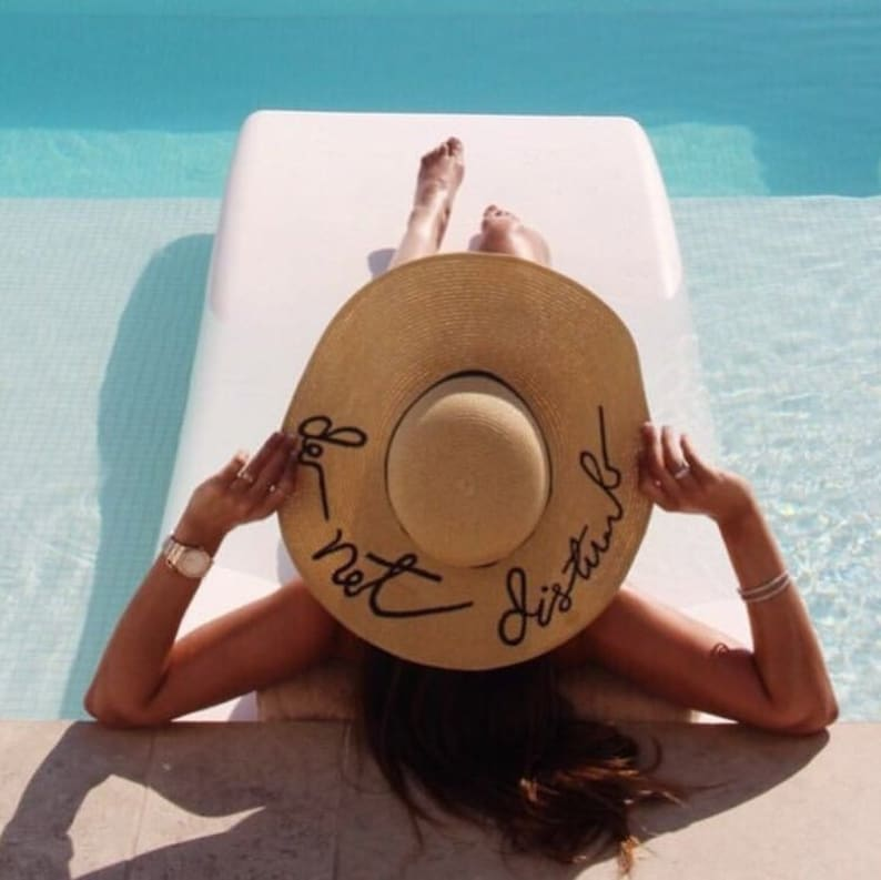 256953d5505 Embroidered Do Not Disturb Floppy Beach Hat Personalized Sun