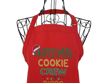 Personalized Christmas Cookie Crew Embroidered Apron for the Family