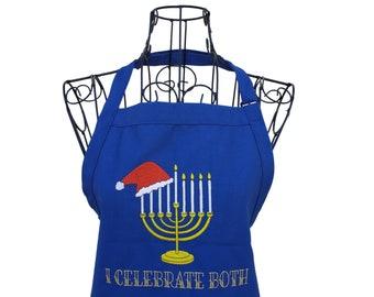 I Celebrate Both Hanukkah Embroidered Full Length Bib Apron
