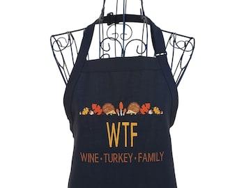 Funny Wine Turkey Family Thanksgiving Full Length Black Bib Apron