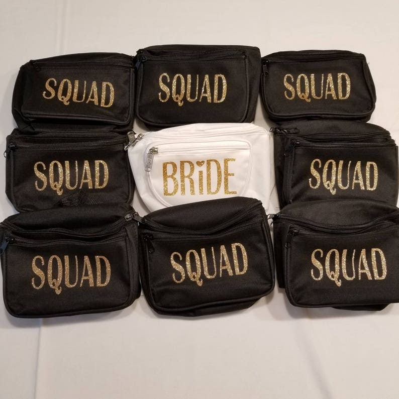 Nine Bride Squad Fanny Packs Squad Bridesmaid Gift Bachelorette Party Bride