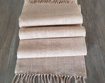Burlap Table Runner with Hand Tied Fringe, Farmhouse Chic, French Country