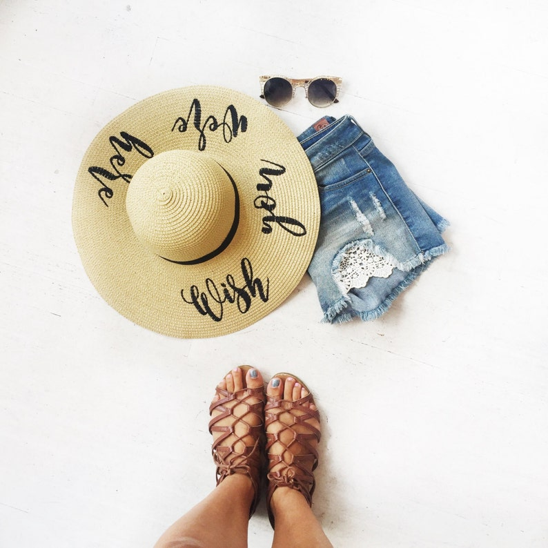 Bachelorette Hats Wide Brim Hat Floppy Sun Hat Embroidered Wish You Were Here Floppy Beach Hat Personalized Sun Hat