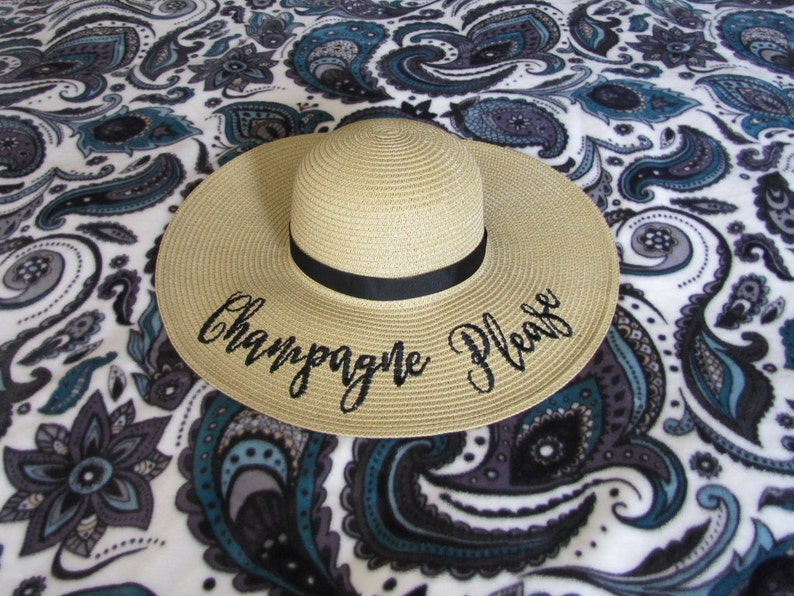 f5742569 Embroidered Champagne Please Floppy Beach Hat Personalized | Etsy