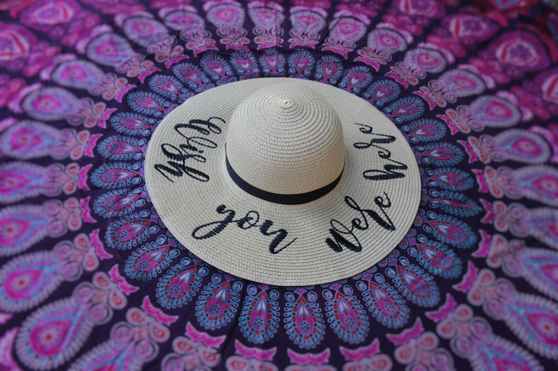5cb26195 Embroidered Wish You Were Here Floppy Beach Hat Personalized | Etsy