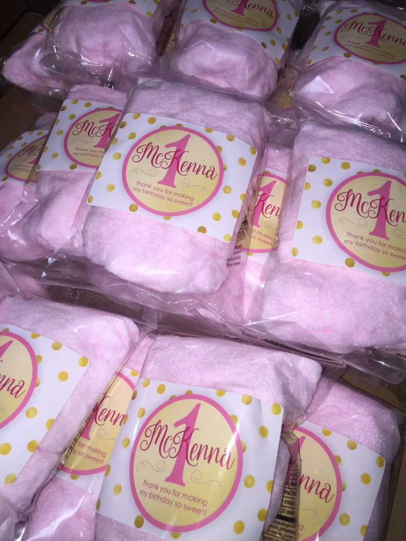 Custom Personalized Wedding Baby Shower Labels Gender Reveal School FREE SHIPPING Birthday 10 Cotton Candy Party Favors Event