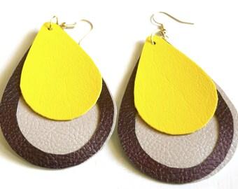 Multi-layered leather teardrop earrings