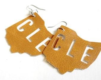 Cleveland Ohio leather earrings