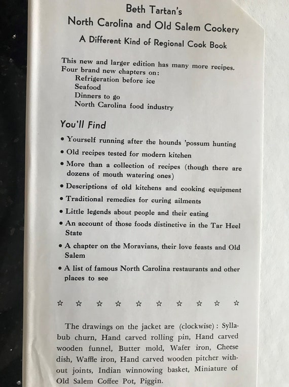 North Carolina and Old Salem Cookery - fourth edition - 1974