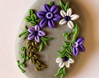 Violet bouquet polymer embroidery pendant