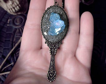 Mirror Necklace, Aqua Aura Quartz Pendant, Pyrite Mirror Pendant, Blue Quartz Pendant, Witchy, Antique Bronze Mirror