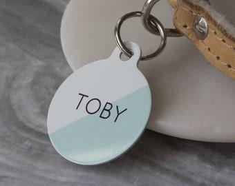 Personalised two tone Print Pet ID Tag  - Dog Name Identification minimalist geometric