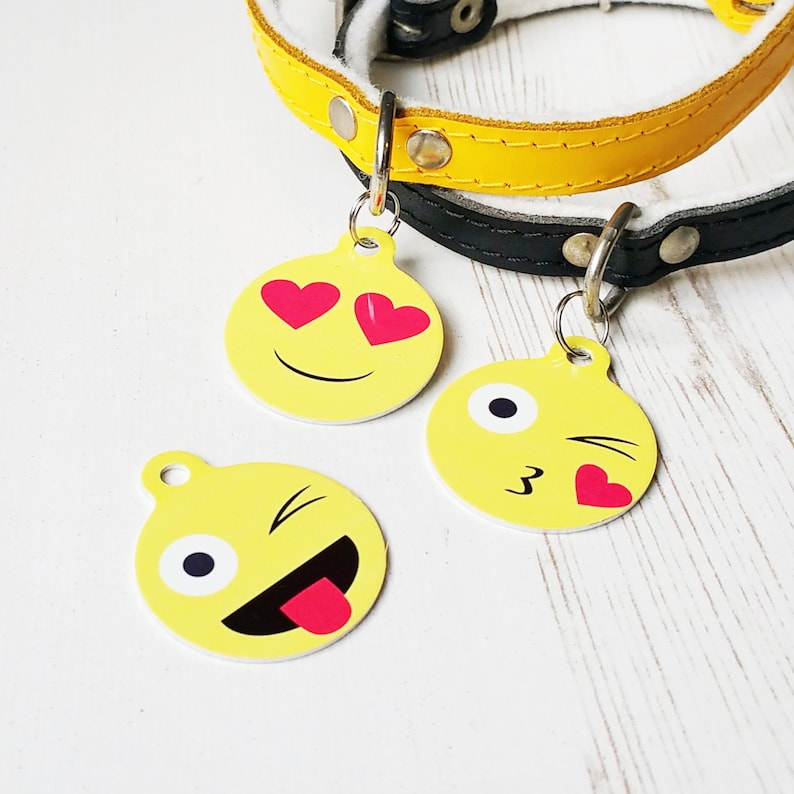 Emoji Print Bauble Pet Id Tag – personalised dog name tag – dog  identification tag – cat name tag – personalized pet ID tag - P25