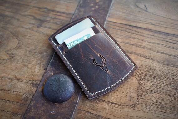 Slim leather wallet / front pocket wallet / credit card holder / business card holder / minimalist wallet