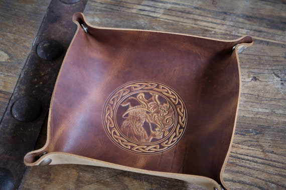 Pipe Smoking Wizard - Gandalf - Leather Dice Tray / Valet Tray / Catch-all with Snaps