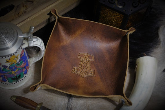 Mjolnir Thor's Hammer Leather Dice Tray / Valet Tray / Catch-all with Snaps