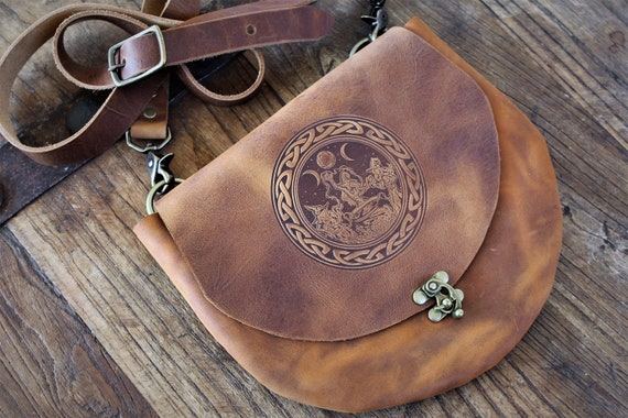Witch's Satchel - Leather Crossbody Purse / Bag with Coven of Witches under the Triple Moon around a Cauldron with Celtic Border