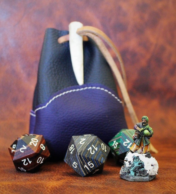 Custom Dungeons and Dragons Dice Bag with Antler Tip or Lantern Toggle - Rune Bag - Dice Bag - Dungeon Master