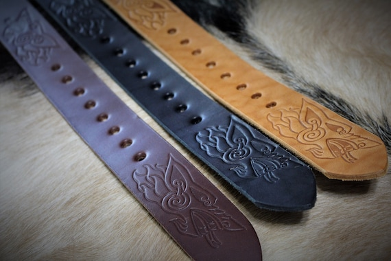 Wolfbrother Belt - Full Grain Leather Belt with Solid Brass Buckle - Made to Order - Wolf Belt Norse Celtic Fenrir Geri Freki