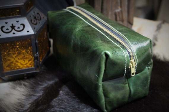 Beastman Shave Bag / Dopp Kit in Green Leather - One of a Kind