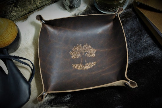 Yggdrasil / Tree of Life - Leather Dice Tray / Valet Tray / Catch-all with Snaps