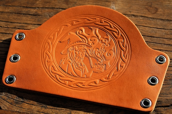 Pipe Smoking Wizard with Celtic Border Leather Bracer / Armguard / Cuff / Archery Armguard