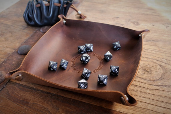 Ouroboros Leather Dice Tray / Valet Tray / Catch-all with Snaps