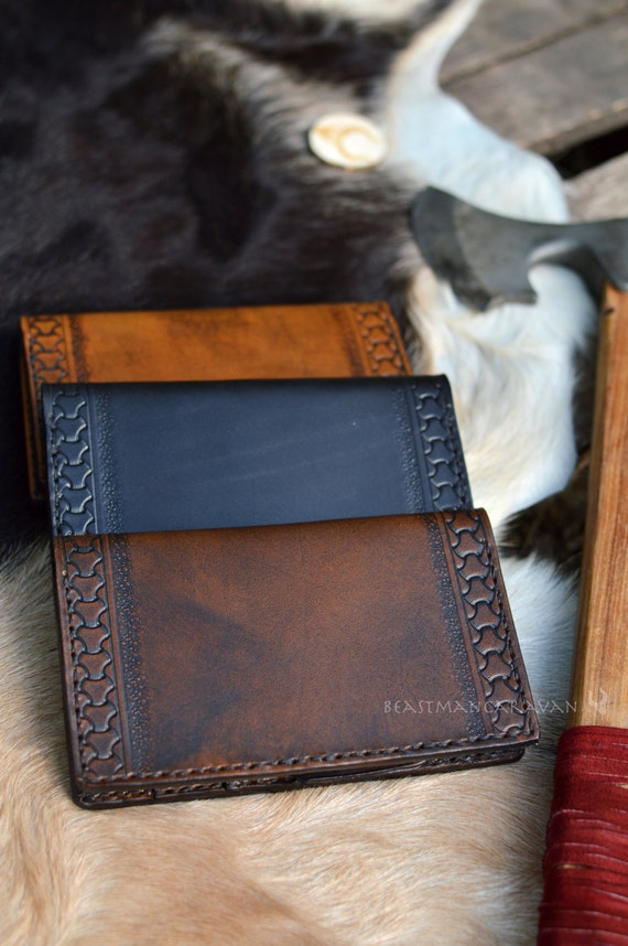Viking Border Design - Leather Journal / Tall Wallet / Passport / Checkbook / Moleskine Cover