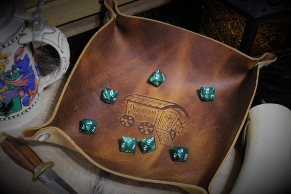 Beastman Caravan Vardo - Leather Dice Tray / Valet Tray / Catch-all with Snaps