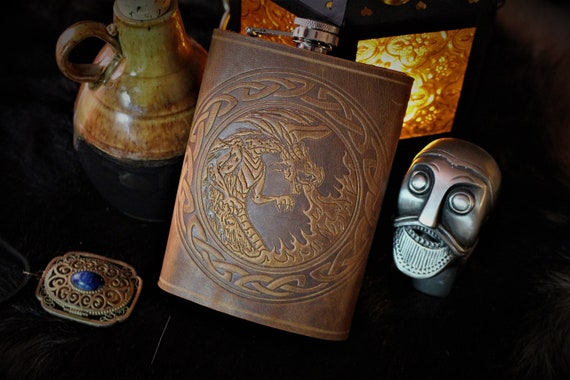 Fire Breathing Dragon with Celtic Border - Leather 8oz Stainless Steel Flask - English Tan Leather