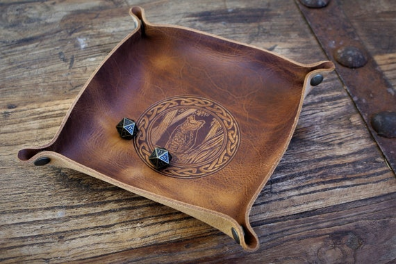 Owl Familiar - Leather Dice Tray / Valet Tray / Catch-all with Snaps