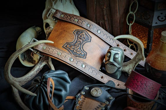 Viking Leather Wrist Cuff with Tooled Design
