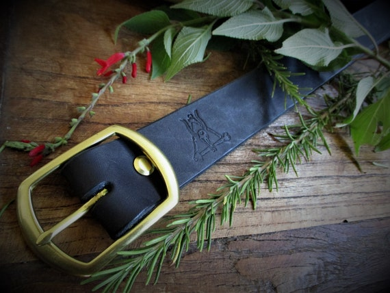 Beastman Belt - Full Grain Leather Belt with Solid Brass Buckle - Made to Order
