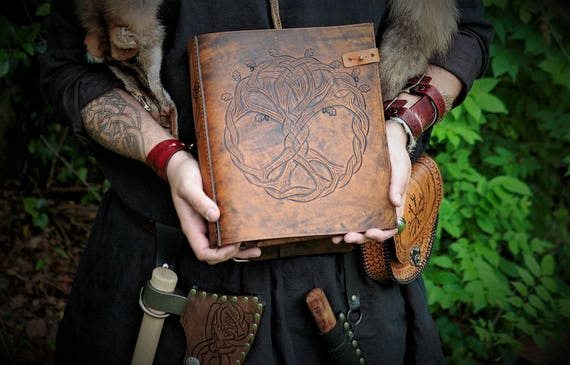 Viking Yggdrasil Tree of Life Design Leather Journal / Custom Binder / Photo Album