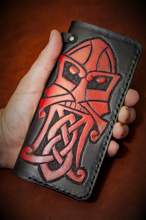Viking Leather Wallet - Viking Berserker Godmask Knotwork Beard - Tall Leather Biker Wallet with Chain