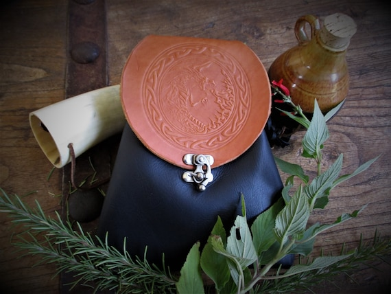 Custom Leather Belt Pouch with Celtic Border and your choice of design - Bushcraft Possibles Pouch - Made to Order