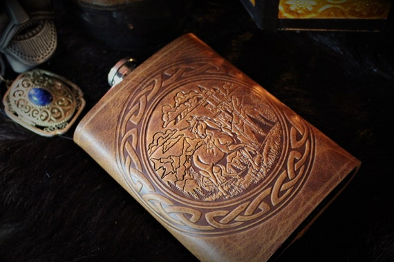 Unicorn and Castle with Celtic Border - Leather 8oz Stainless Steel Flask - English Tan Leather