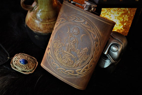 Coven of Witches casting a spell around a cauldron under the triple moon - Leather 8oz Stainless Steel Flask - English Tan Leather