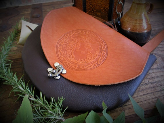 Gatherer's Bag - Celtic Knotwork Leather Crossbody Purse / Satchel with Your Choice of Design
