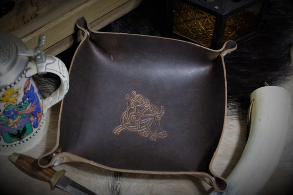 Celtic / Norse Knotwork Stag Deer Design - Leather Dice Tray / Valet Tray / Catch-all with Snaps