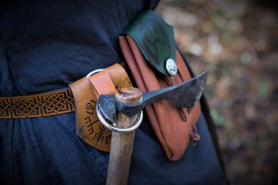 Viking Leather Axe Ring Frog - Belt Ring Axe Hanger - Viking Norse Bushcraft - Vegvisir Design