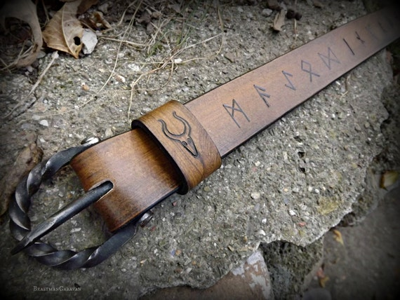 Norse Runic Viking Belt with Handforged Buckle - Elder Futhark - Asatru Heathen Pagan Magickal