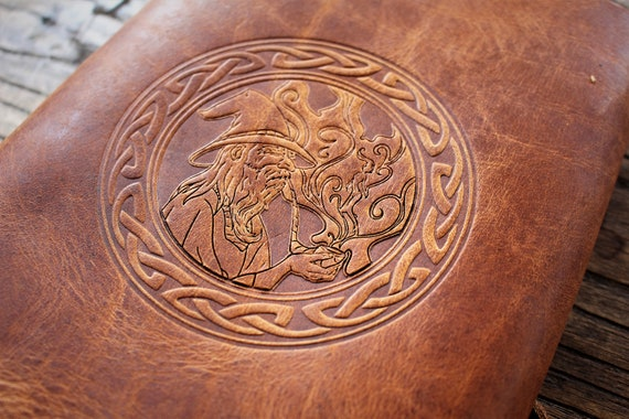 Leather Spellbook with Pipe Smoking Wizard and Celtic Knotwork Border / Journal / Book of Shadows / - A5 Refillable Binder