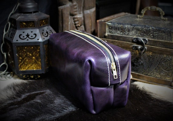 Beastman Shave Bag / Dopp Kit in PURPLE Leather - One of a Kind