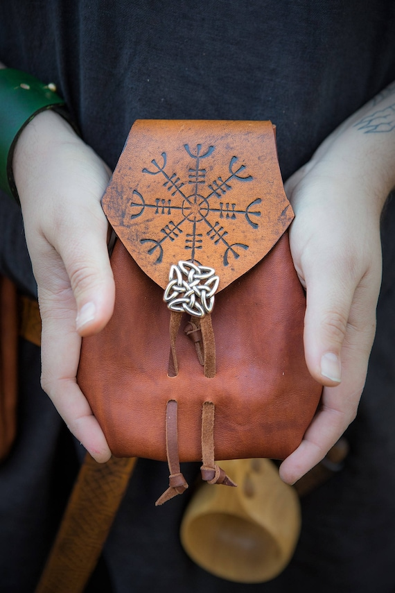 Medieval Leather Belt Pouch with Helm of Awe Aegishjalmur Design and Drawstring Closure - Cosplay Viking Larp Celtic Bushcraft belt pouch