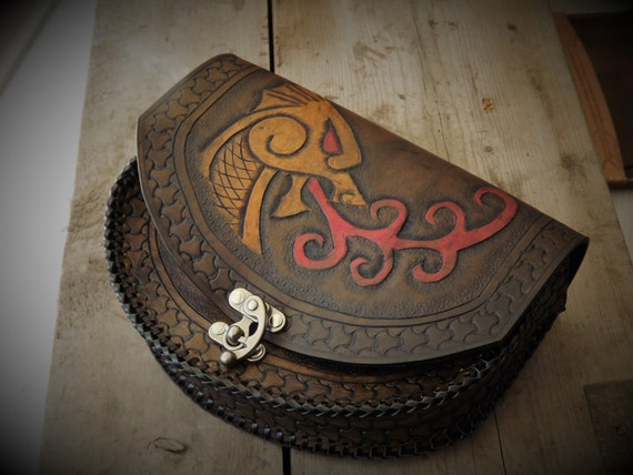 Viking Leather Belt Pouch - Dragon / Wyrm / Serpent - Drakkar - Celtic - Viking Inspired - Festival Bushcraft Possibilities Bag