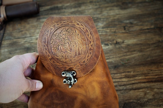 Leather Belt Pouch with Unicorn Design and Celtic / Norse Knotwork Border - Bushcraft Possibles Pouch - Fanny Pack - Dice Bag - Purse