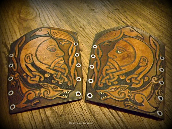 Fully Custom Tooled Viking Knotwork Bracers / Vambraces / Armguards - Odin, Mjolnir, Thor, Wolves, Ravens