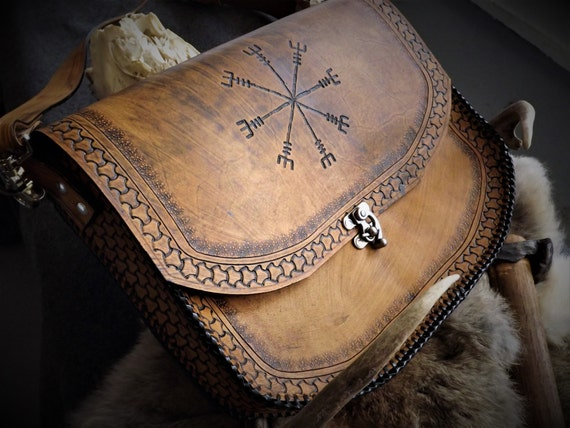 Helm of Awe Messenger Bag - Norse Viking Icelandic Satchel / Leather Bag
