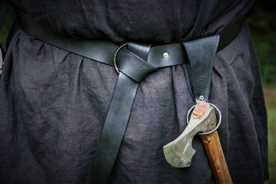 Viking Leather Axe Ring Frog - Belt Ring Axe Hanger - Viking Norse Bushcraft - Hand Forged Ring by Josh Weston Forged in Fire Champion